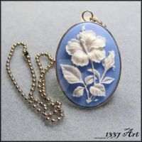 Hibiscus Cameo necklace by 1337-Art