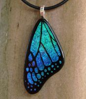 Teal Blue Glass Butterfly Wing by FusedElegance