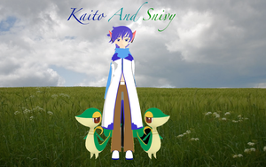 Neko Kaito and Snivy Wallpaper by The-Insane-Puppeteer
