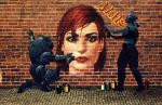 Liara and Garrus StreetArt by BarbDBarb