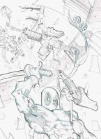 Deadpool 'kitchen sink ' section ( pencils) by GibsonQuarter27