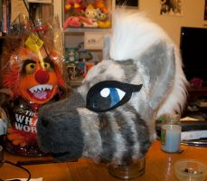 Zecora Zebra Fursuit Head WIP March 18th 2014 by GothyBeans