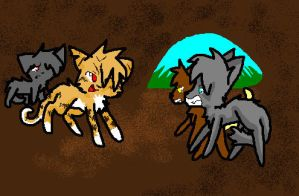 TangleBurns protecting Grimpaw by CometStre