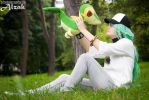 N Harmonia with Snivy. Pokemon Black White cosplay by Rael-chan89