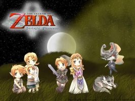 Chibi Zelda TP Wallpaper Night by hikari-koi