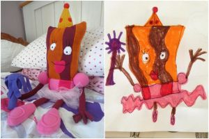 Bacon Princess Plush made from Child's drawing by SharSharKittycorn