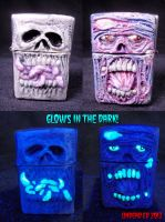 Glow In Dark Skull and Zombie Zippo Lighter by Undead-Art