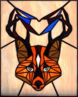 Stained glass panel FOX / Tiffany technique by zyklodol