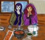 Raven and Starfire by lesliemint