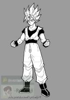 SSj Goku, black and white by RyoGenji