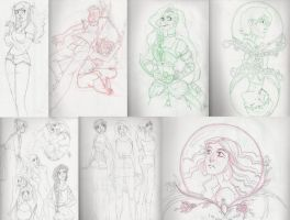 Poorly scanned and compiled sketches by cr0ss3d0ut