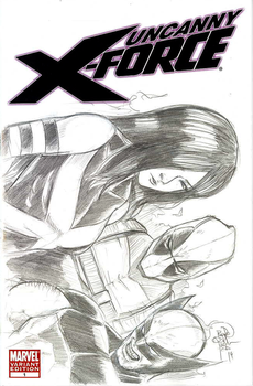 Uncanny X-Force Number 1 - 001 Blank Cover Sketch by sykoeent