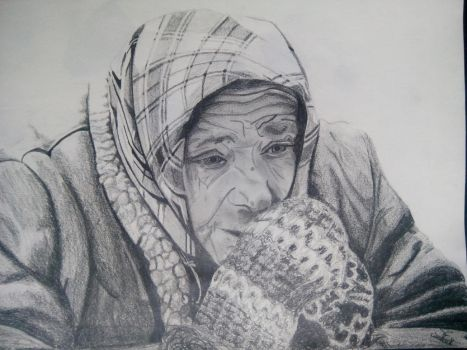 Sad old woman by SniepA