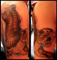 Tiger tattoo by thirteen7s