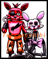 Foxy and Mangle by tehcreechibi