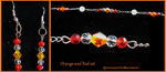 Orange and Red Earring and Bracelet Set by Catemma7