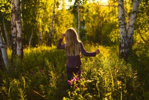 Girl in forest by konstantingl