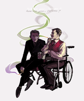 Gattaca - Eugene and Vincent share a drink by weaselyperson