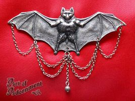 Vampire Bat Brooch by ArtOfAdornment