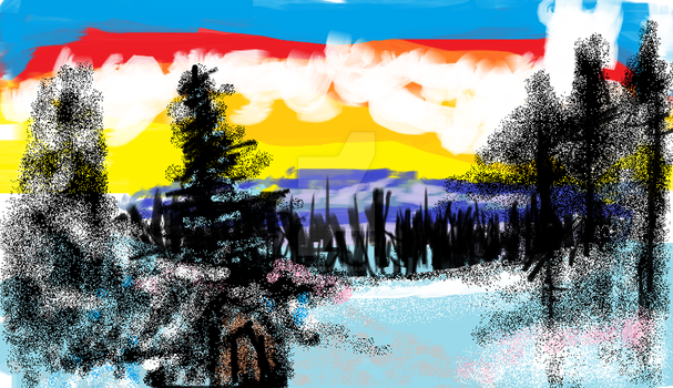Bob Ross Winter's Peace In Microsoft Paint by ShadowStar411