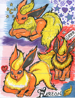 Pokemon Flareon Doodles by alaer