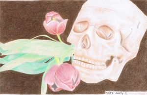 Colored Pencils: Skull with Tulips by Jibari-chan