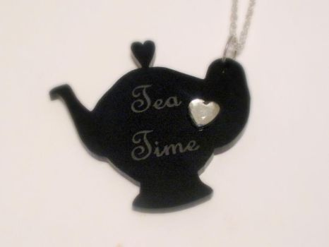Tea Time Silhouette Necklace by AmbiguousAngel