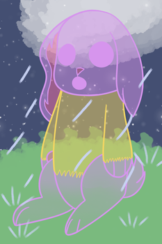 It's the ghost in a raincoat except it's a bunny by I-Cant-Do-Art-Sorry