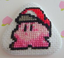Kirby with Mario Hat pin by pixel8bit