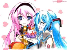 Megurine Luka and Hatsune Miku by Crystallstar26