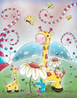 Giraffes in Wonderland by concettasdesigns