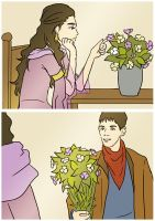 Merlin and Morgana - Flowers by Xinjay