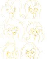 fluttershy sketches by Ice-Chi