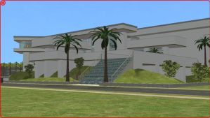 Sims2 modern white hillside mansion by RamboRocky