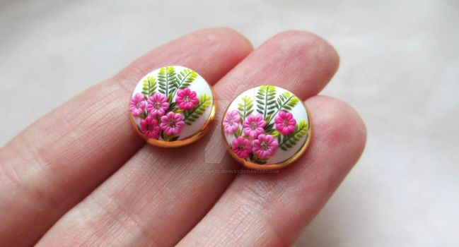 Gentle Spring in Autumn Handmade Clay Stud by LenaHandmadeJewelry