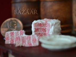 Pink Checkered Cake 1:12 Scale by abohemianbazaar