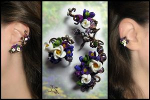 Floral ear cuffs Spring by JSjewelry