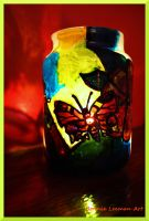 Peacock Butterfly Candle Jar by Bonniemarie