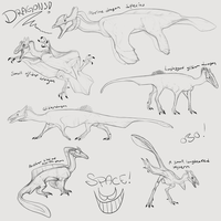 Dragon species sketchdump by DoruDrutt