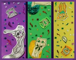 Cats and cores bookmark set. by MonotoneInkwell