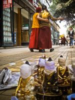 First lesson in China: How to wrap a Buddha! by clalepa