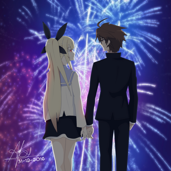Naoto and Raquel's 2016 New Year by mercuryNeko