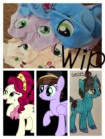 my little pony WIP plushie commissions July by CINNAMON-STITCH