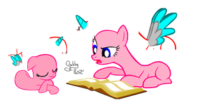 Filly x Mare :Books are interesting sis!:. Base by GabbyPaint-PonyBases