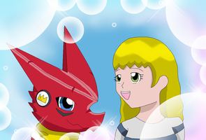 Haley and Shoutmon by HeroHeart001