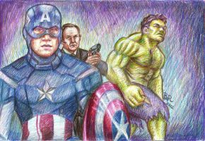 The Avengers - The Soldier, The Agent and The Hulk by Luthienne88