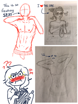Sketches (first time I drew the body anatomy) by MinnieLOL14