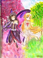 Kuroyukihime and Asuna Crossover Fan Art by like2draw001