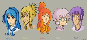 Generation 1 Gijinka - Legendaries by A-A-Fresca