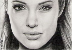 Angelina Jolie sketch card by jenchuan